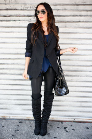 black shoulder pad Zara blazer - black thigh high boots