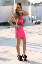 pink H&M dress - black downtown la shoes - black downtown la belt