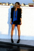 blue angle blouse - black Soho shoes - black Zara blazer - black Soho skirt