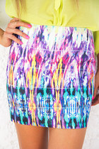 yellow tribal print HAUTE & REBELLIOUS skirt