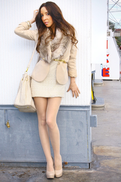 nude H&M tights - beige Forever 21 dress - tan H&M blazer