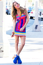 hot pink HAUTE & REBELLIOUS dress - blue HAUTE & REBELLIOUS boots