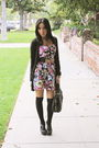 Red-f21-dress-black-h-m-socks-black-old-sweater-cardigan-black-f21-shoes-