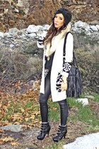 black H&M purse - ivory H&M cardigan - black Final Touch blouse - tan H&M access