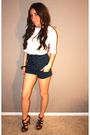 White-target-t-shirt-blue-random-boutique-shorts-brown-downtown-la-shoes