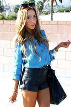 light blue shoulder cutout HAUTE & REBELLIOUS blouse