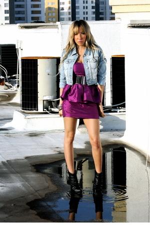 blue Blue Asphalt jacket - purple Forever 21 dress - black downtown la