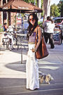 White-linen-pants-purple-f21-top-brown-steve-madden-shoes-brown-h-m-purse