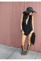 black Street Vendor hat - black Gladiators shoes - black fringe Forever 21 bag