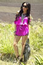 pink Cotton Candy blouse - black lace shorts - black Forever 21 shoes - black Fo