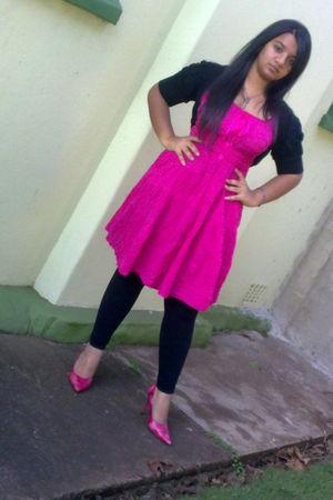 pink dress - pink Luella shoes - black leggings - black accessories