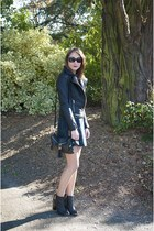black Pimkie boots - forest green Primark dress - black Princesse Boutique coat