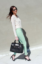 Zara blouse - Uterque bag - Miu Miu sunglasses - Mango sandals - Zara pants