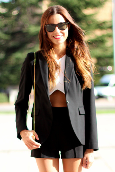 Zara blazer - Zara shorts - ray-ban sunglasses - Zara top