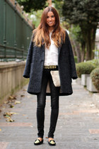 Zara coat - Moschino belt - Zara blouse