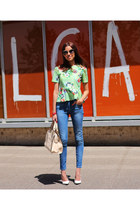 Zara top - Mango jeans - Miu Miu sunglasses