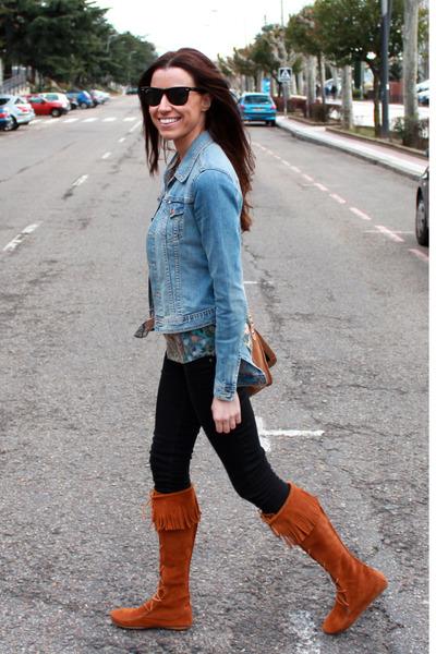 H&M jacket - Minnetonka boots - Bershka jeans - ray-ban sunglasses
