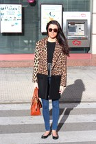 Zara coat - navy Mango jeans - burnt orange coach bag - black Zara blouse