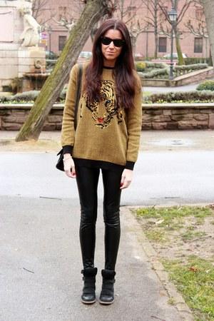 Zara jumper - Zara leggings - rayban sunglasses - black hakei sneakers