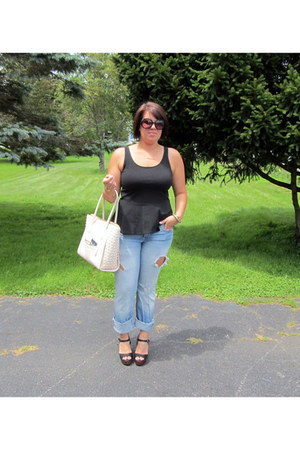 black peplum Express top - blue Gap jeans
