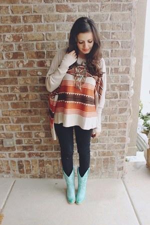 burnt orange aztec Lulus top - aquamarine mint Lulus boots - black Gap jeans