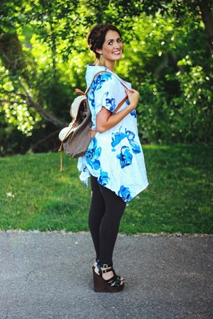 blue floral joe browns dress - black leather LuLus wedges