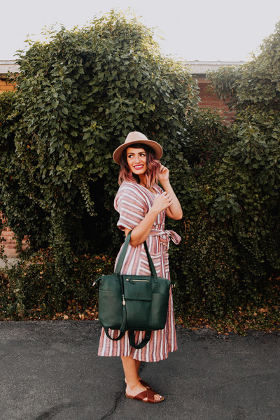green leather Lily Jade bag - coral stripes free people dress