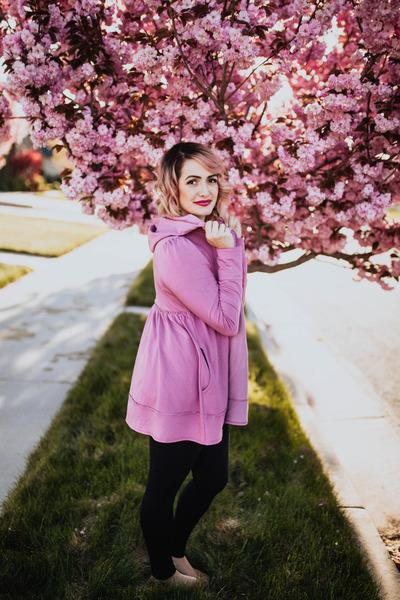 maroon pink Evys Tree hoodie - off white flowy Gray Monroe top