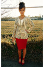 Cream-floral-print-dawn-joy-fashions-blazer-red-leather-urban-outfitters-shoes