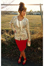 Red-leather-urban-outfitters-shoes-cream-floral-print-dawn-joy-fashions-blazer