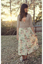 cream floral print vintage skirt
