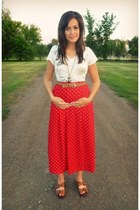 white nautical delias shirt - red polka dots vintage skirt