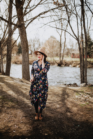 navy floral Wren & Ivory dress
