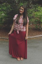 brick red Rubbish shirt - crimson raylon Bobeau skirt