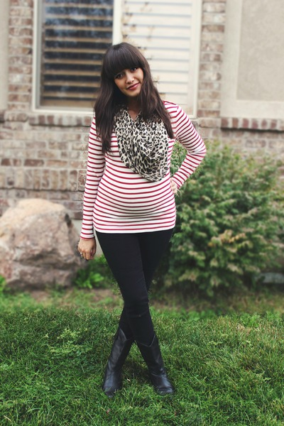 red striped Gap shirt - black cowboy Urban Outfitters boots