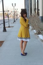 mustard peacoat Lulus coat - black striped Lulus dress