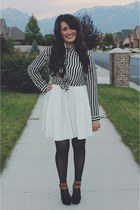 black stripes LuLus top - ivory LuLus dress - navy crochet Forever 21 tights