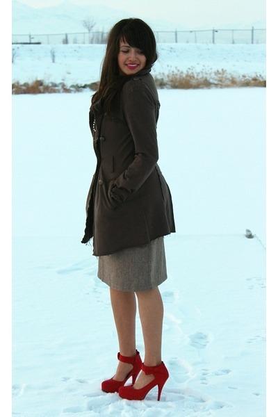 light brown Shabby Apple dress - dark brown Forever 21 coat