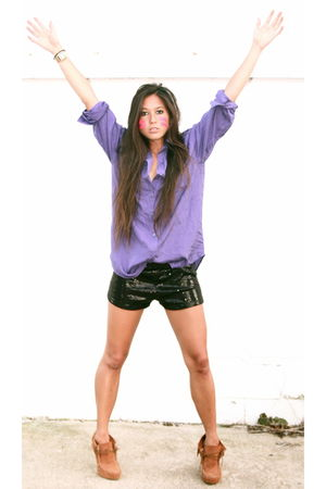 purple Urban Outfitters blouse - purple Forever 21 shorts - purple Charles David