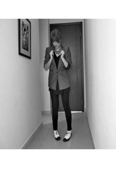 Zara leggings - Zara blazer - American Apparel t-shirt - Topshop flats