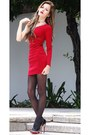 Red-dress-dress-dark-gray-aldo-tights