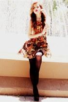 light brown Kristines Collection dress - dark gray Aldo tights