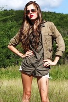 camel ann taylor jacket - army green degree shirt