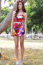 red volcom dress - cream American Eagle belt