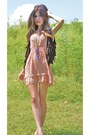Nude-marshalls-dress-dark-brown-walmart-vest-magenta-american-eagle-necklace
