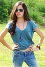 Sky-blue-american-eagle-jeans-teal-american-eagle-shirt