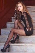 black Billabong dress - dark gray American Eagle tights