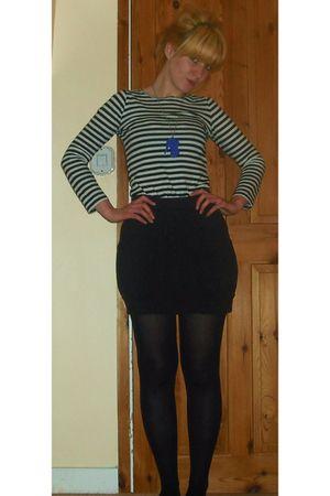 white Mango top - black Urban Outfitters skirt