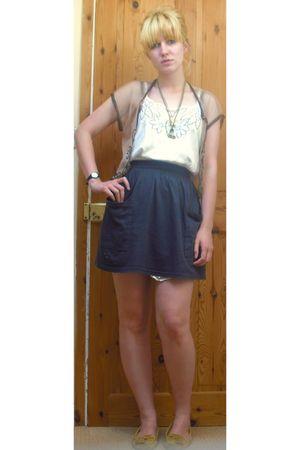 beige Miss Selfridge cardigan - white Topshop dress - blue American Apparel skir