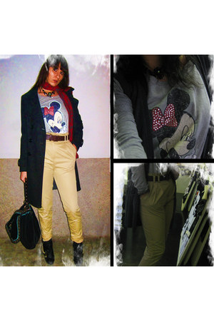 Kokka coat - jennyfer t-shirt - H&M pants - Krizia Poi scarf - Topshop shoes - G